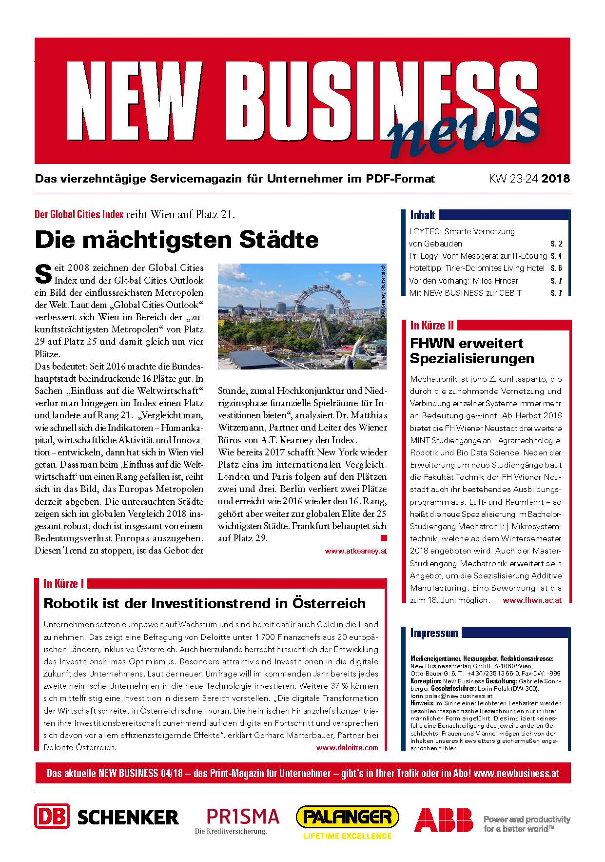 Cover: NEW BUSINESS News - 23-24/2018