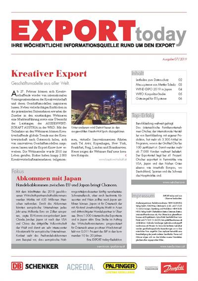 Cover: EXPORT today online - 07/2019